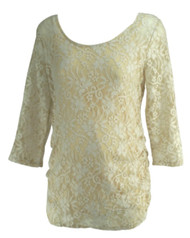 Cream Jessica Simpson Maternity 3/4 Sleeve Aced Ruched Maternity Blouse (Like New - Size Large)