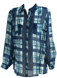 Blue Wendy Bellissimo Maternity Long Sleeve Button Up Plaid Maternity Blouse (Like New - Size Large)