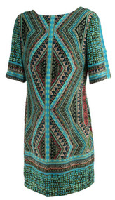 Teal Aztec Print Donna Morgan for A Pea in the Pod Maternity Collection Shift Maternity Dress (Like New - Size Medium)