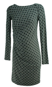 Black Ann Taylor Loft Maternity Printed Long Sleeve Casual Maternity Career Dress (Like New - Size Small)