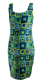 Teal Girlfriend by Silversilk for A Pea in the Pod Maternity Box Print Casual Maternity Slip Dress (Gently Used - Size Medium)