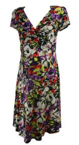Bold Floral Leota Maternity V-Cut Short Sleeve Dress (Like New - Size Large)