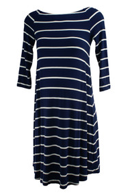 Navy Blue Led Maternity 3/4 Sleeve Striped Maternity Flowy Dress (Like New - Size Small)