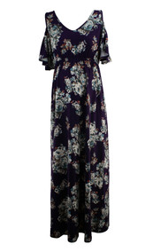 Eggplant Purple French Grey Maternity Floral Shoulder Cut Out Maternity Dress (Like New - Size X-Small)