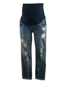 Medium Wash Led Maternity Ripped Cuffed Maternity Jeans (Like New - Size 27)
