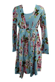 Sky Blue Baby Be Mine Maternity Isla Floral Print Two Biege Night Gown Set (Like New - Size Medium)