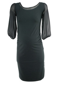Black Seraphine Maternity Sheer Sleeve Maternity Dress (Like New - Size 4)