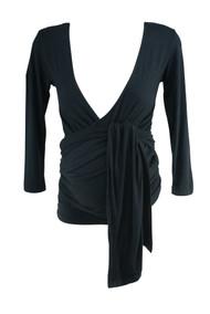Black Jojo Maman Bebe Maternity 3/4 Sleeve Wrap Maternity Top (Gently Used - Size Small)