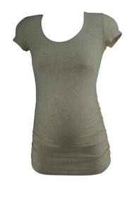 Pink Isabella Oliver Maternity Short Sleeve Ruched Casual Maternity Tee (Gently Used - Size 0)