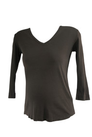 Brown Michael Stars Maternity Long Sleeve V-Neck Maternity Top (Gently Used - Size None)