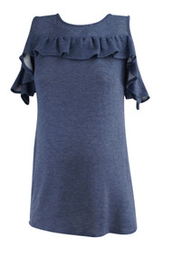 Blue Lux & Co. Maternity Ruffled Maternity Blouse (Like New - Size None)