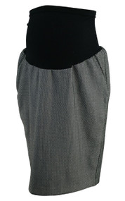 Black A Pea in the Pod Maternity Checkered Career Maternity Skirt (Gently Used - Size Large)
