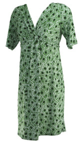 Green A Pea in the Pod Short Sleeve Printed Career Maternity Dress (Gently Used - Size Large)