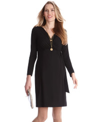 Black Seraphine Maternity Wrap Dress  (Gently Used - Size 3)