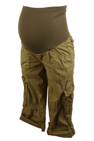 Brown Motherhood Maternity Poplin Cargo Convertible Pants (Gently Used - Size Small)
