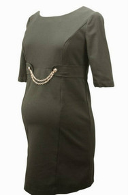 Black Rosie Pope Maternity Dress with Gold Chain (Gently Used - Size Medium)