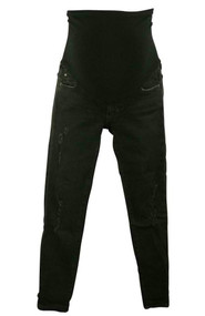 Worn Black AG Maternity Distressed Skinny Jeans (Gently Used - Size 26R)