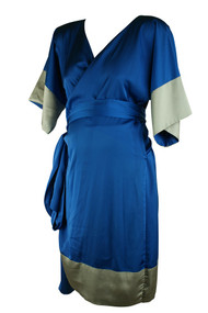 Madeleine Maternity Electric Blue Wrap Dress (Gently Used - Size 2)