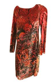 Red / Black Velvet Cato Maternity Long Sleeve Dress (Like New - Size Medium)