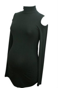 Black Isabella Oliver Long Sleeve Turtleneck Exposed Shoulder Helston Maternity Top(Like New - Size 2)
