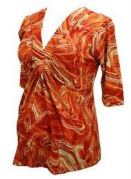 Orange Olian Maternity 3/4 Sleeve Blouse Top (Like New - Size Medium)