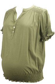 Maternal America Olive Green Maternity Blouse (Gently Used - Size Large)