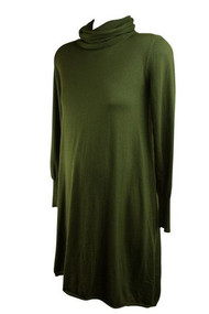 Army Green Fuzzi Maternity Long Sleeve Cowl Dress (Gently Used - Size Large)