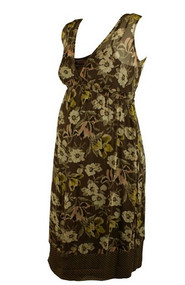 Brown Floral Print Mimi Maternity Sleeveless Dress (Gently Used - Size Small)