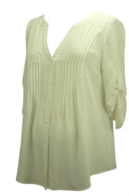 Cream BCBG Maxazria Maternity Long Sleeve Blouse (Like New - Size Small)