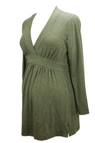 *New* Liz Lange Maternity Gray Maternity Baby doll Long Sleeve Tee (Size 3)