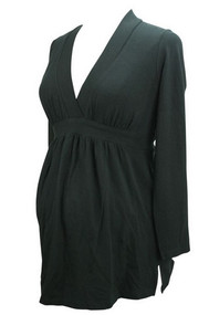 *New* Liz Lange Maternity Black Baby doll Long Sleeve Tee (Size 3)