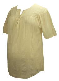 Cream Cadeau Maternity Short Sleeve Blouse (Like New - Size Large)