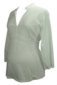 White Cadeau Maternity Long Sleeve Career Blouse (Like New - Size Large)