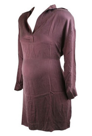 *New* Brown Ingrid & Isabel Maternity Silk Shirt Dress (Size Small)