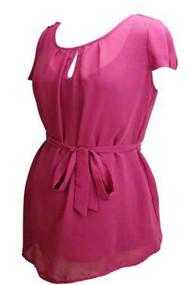Fuchsia Motherhood Maternity Short Sleeve Career Blouse (Like New - Size Medium)