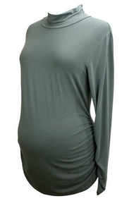 Gray Ruched Long Sleeve Isabella Oliver Tee Blouse (Like New - Size 5)