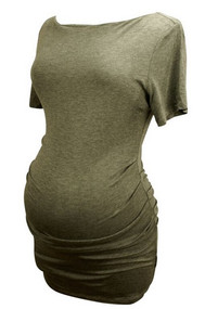 *New* Gray A Pea in the Pod Maternity Ruched Tee (Size Large)