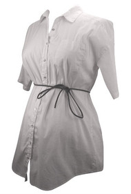 White Adjustable Sleeve Motherhood Maternity Button Down Shirt Belted (Like New - Size Small)