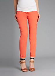 Orange Isabella Oliver Sateen Cargo Maternity Pants  (Like New - Size 4)