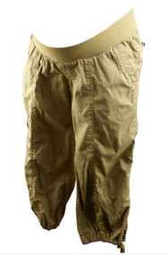 Beige Motherhood Maternity Cargo Capri Pants (Gently Used - Size Small)