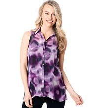 Eggplant Sweet Pea Maternity Printed Button-Back Blouse (Small - Like New)