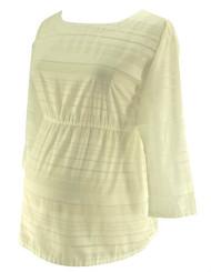 White & Sheer Stripe GAP Maternity Blouse (Like New - Size Medium)