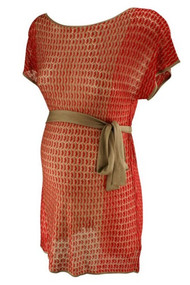 *New* Red & Tan A Pea in the Pod Maternity Sheer Crochet Dress (Size Small)