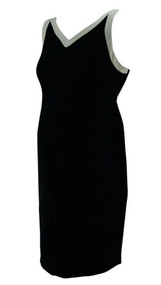 Black Mimi Maternity Straight White Trim Maternity Dress (Gently Used - Size 8)