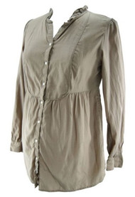 Taupe GAP Maternity Button Down Long Sleeve Shirt (Like New - Size Medium)