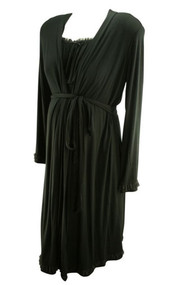 Black A Pea in the Pod Maternity 2 Pc Maternity Sleep Set Night Gown & Robe (Gently Used - Size Large)