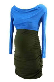 *New* Royal Blue & Black Ruched Dress by Everly Grey Maternity (Size X-Small)