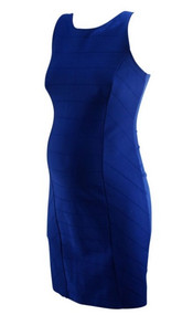 Electric Blue Pencil Fit Exposed Zipper Maternity Dress by Eight Sixty for A Pea in the Pod Collection (Like New - Size Small)