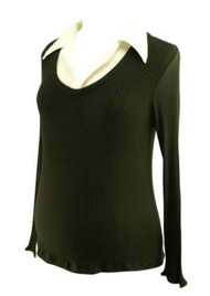 Black Ribbed Shirt Top by Japanese Weekend Maternity (Gently Used - Size X-Large)
