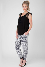 *New* Ripe Maternity Essos Print Fluid Drawstring Maternity Pants (Size Large)